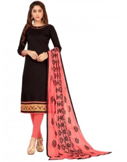 FLORANCE SLUB COTTON WITH HEAVY EMBRODIERED BORDER CHUDIDAR SALWAR SUIT - 1002