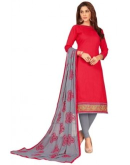 FLORANCE SLUB COTTON WITH HEAVY EMBRODIERED BORDER CHUDIDAR SALWAR SUIT - 1008