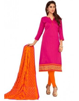 FLORANCE SLUB COTTON WITH HEAVY EMBRODIERED BORDER CHUDIDAR SALWAR SUIT - 1012