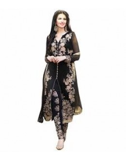 StarMart Women's Georgette Dress Material (SM-308P_Free Size_Blk)