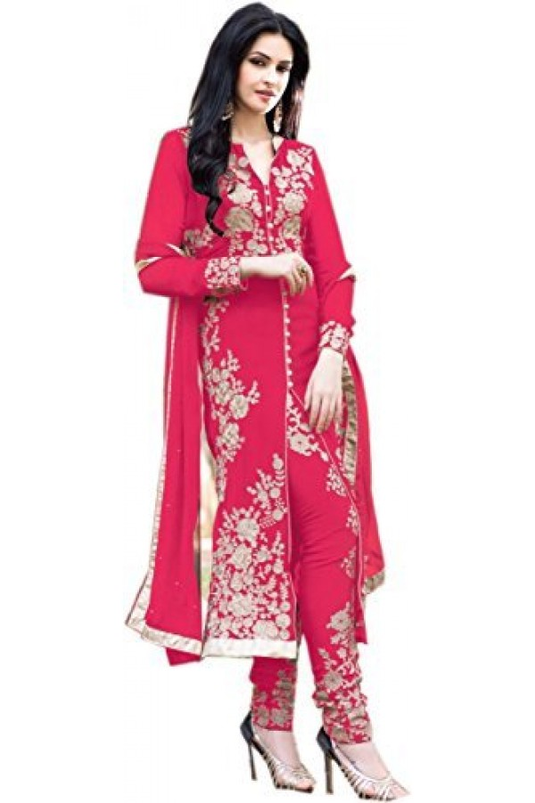 StarMart Women's Georgette Dress Material (SM-308P_Free Size_pink)