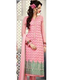 Party Wear Pink Georgette Salwar Suit - S-55