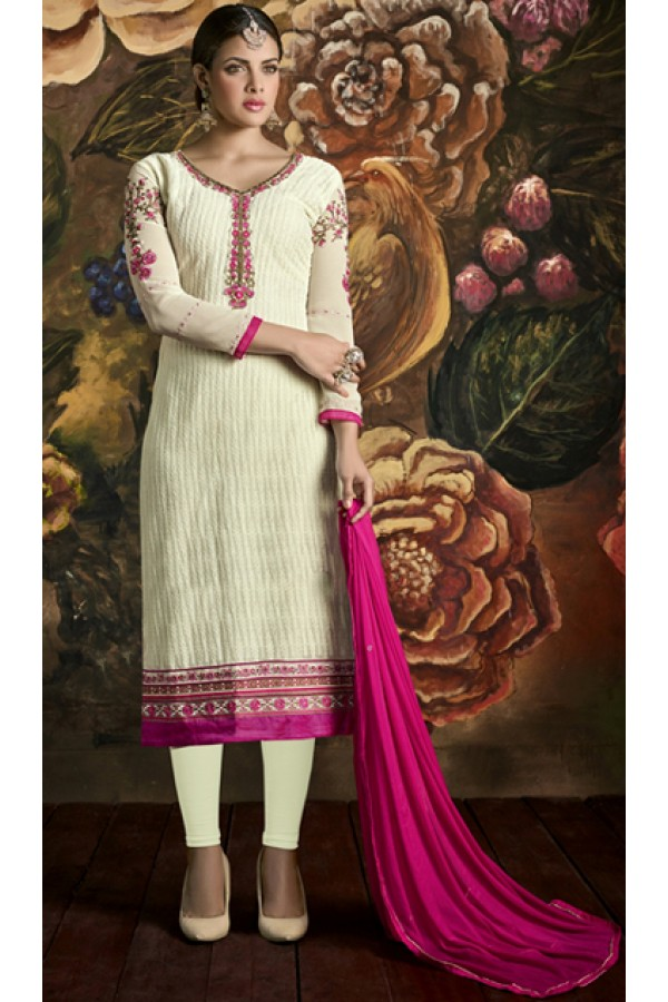 Ethnic Wear Cream & Pink Georgette Salwar Suit - 3006