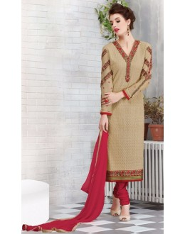 Party Wear Beige & Red Georgette Salwar Suit - 2700