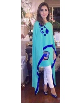 Party Wear Sky Blue Cotton Cape Dress- 1011-E