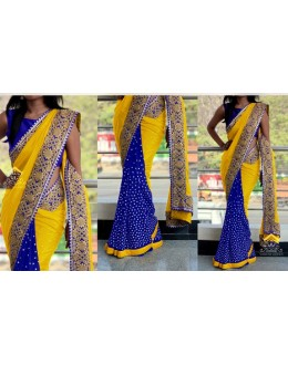 Bollywood Replica - Wedding Wear Yellow & Blue Saree - 1016-A