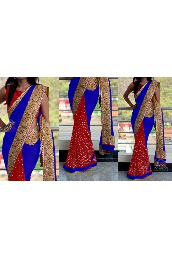Bollywood Replica - Wedding Wear Blue & Red Saree - 1016-B