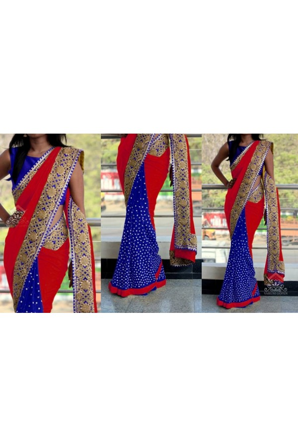 Bollywood Replica - Ethnic Wear Red & Blue Saree - 1016-C