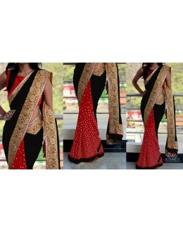 Bollywood Replica - Ethnic Wear Black & Red  Saree - 1016-J