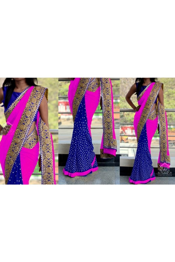 Bollywood Replica - Wedding Wear Pink & Blue Saree - 1016-L