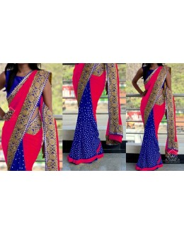 Bollywood Replica - Wedding Wear Red & Blue Saree - 1016-M