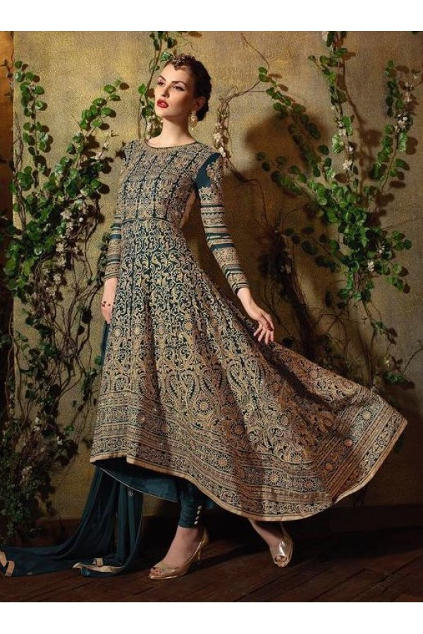 Traditional Green Georgette Embroidered Anarkali Suit - 8105