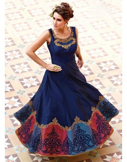 Party Wear Navy Blue Art Silk Gown - 101