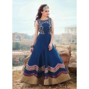 Wedding Wear Navy Blue Art Silk Gown - 102