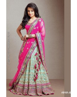 Bollywood Replica -  Wedding Wear Pink & Green Lehenga  - 1018-A