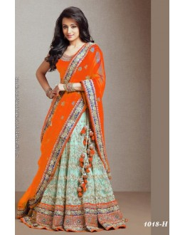 Bollywood Replica -  Ethnic Wear Orange & Green Lehenga  - 1018-H