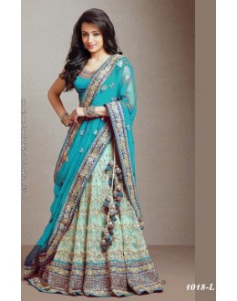 Bollywood Replica -  Designer Sky Blue & Green Lehenga  - 1018-L