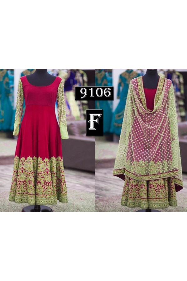 Bollywood Replica - Traditional Dark Pink Anarkali Suit   - 9106-F