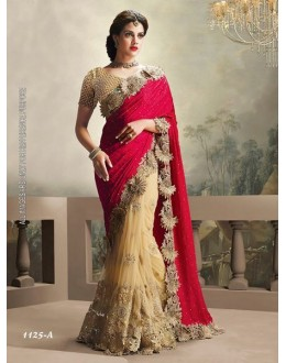 Party Wear Red & Cream Saree  - 1125-A