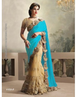 Sky Blue & Cream Moss Chiffon Saree  - 1125-F