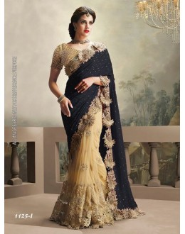 Moss Chiffon Black & Cream Saree  - 1125-I