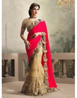Party Wear Dark Red & Cream Saree  - 1125-J