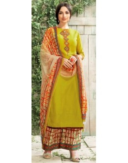 Party Wear Green Satin Salwar Kameez - 7801