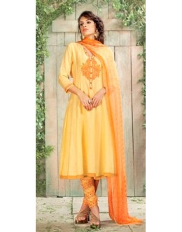 Party Wear Orange Satin Salwar Kameez - 7804