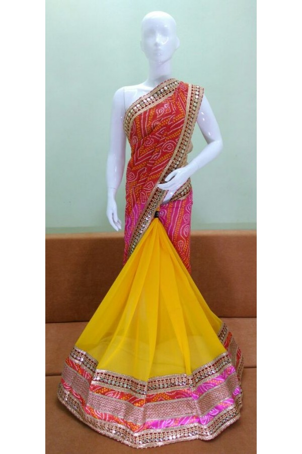 Party Wear Multicolour Georgette Saree - 1023-04