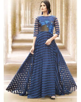 Party Wear Blue Satin Embroidered Gown - 6661