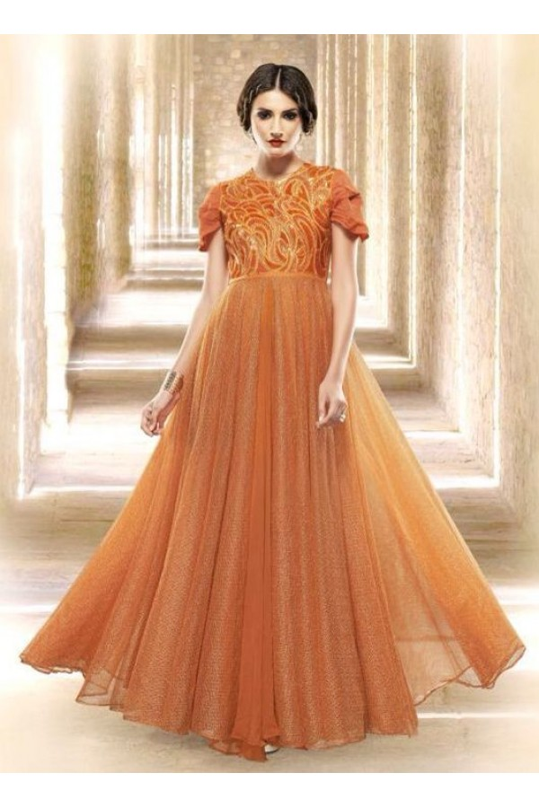 Fancy Orange Jacquard Embroidered Gown - 6663
