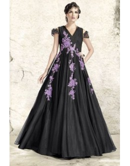 Designer Black Net Embroidered Gown - 6664