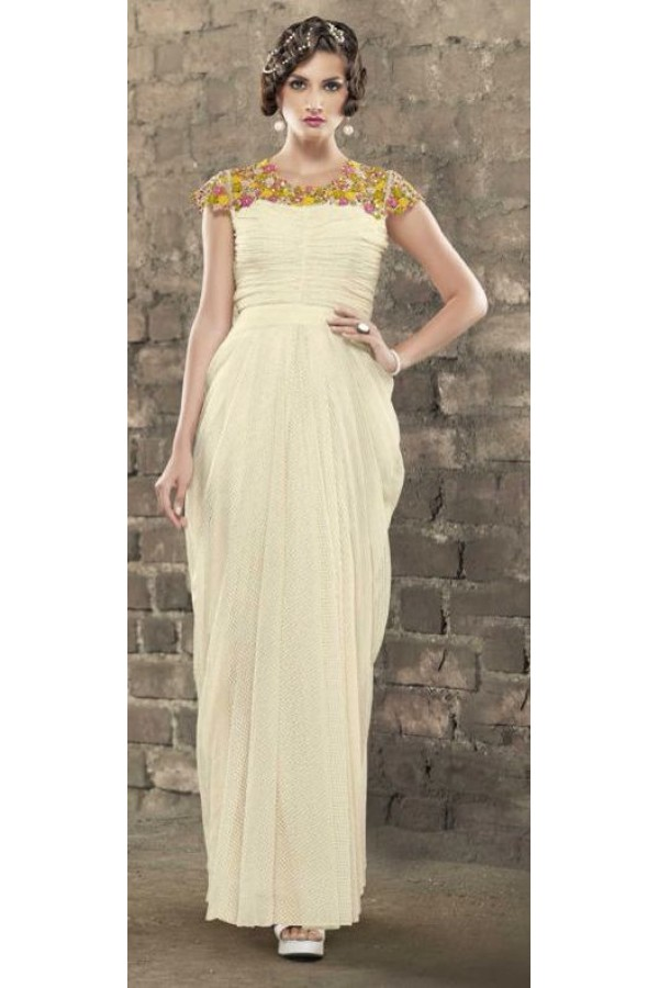 Party Wear Cream Jacquard Embroidered Gown - 6666
