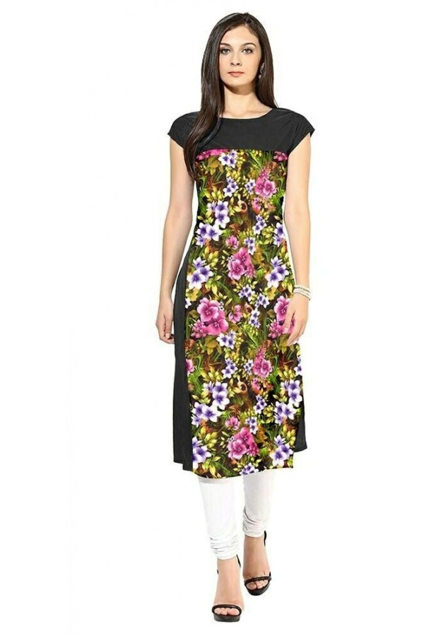 Ethnic Wear Readymade Black Crape Kurti - 102