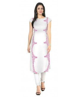 Office Wear Readymade White Crape Kurti - 105