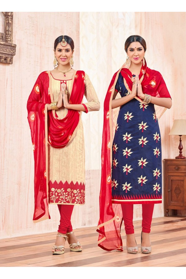 Salwar Suit With Two Top & One Bottom - 453