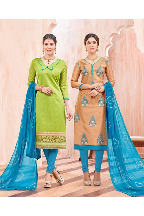 Salwar Suit With Two Top & One Bottom - 457