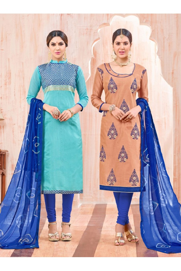 Salwar Suit With Two Top & One Bottom - 459