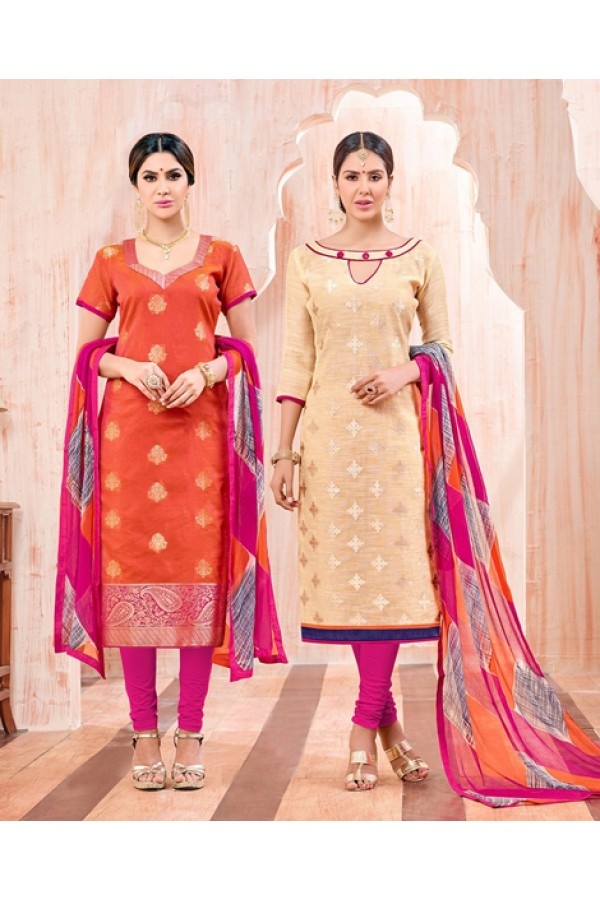 Salwar Suit With Two Top & One Bottom - 460
