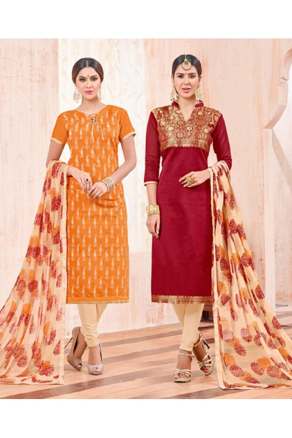 Salwar Suit With Two Top & One Bottom - 464