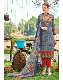 Festival Wear Blue Cotton Salwar Suit - 700