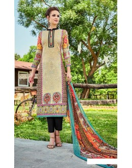 Office Wear Beige Cotton Salwar Suit - 701