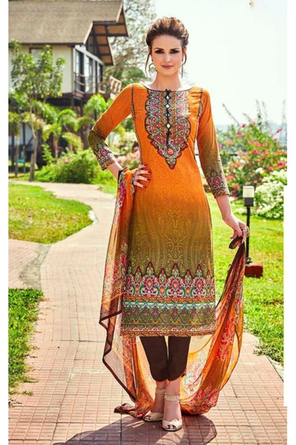 Office Wear Orange Cotton Salwar Suit - 707