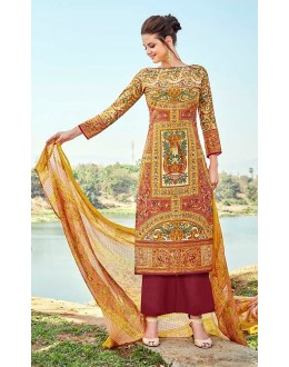 Party Wear Multi-Colour Cotton Palazzo Suit - 709