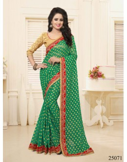 Party Wear Green Georgette Saree  - 25071