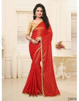 Ethnic Wear Red Georgette Saree  - 25074