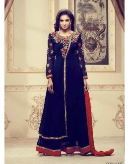 Festival Wear Blue Faux Georgette Palazzo Suit - 1007