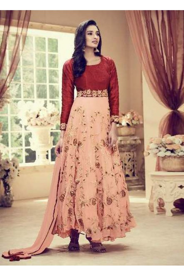 Light Peach Colour Faux Georgette Anarkali Suit - 1011