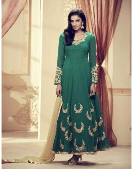 Green Colour Faux Georgette Anarkali Suit - 1012