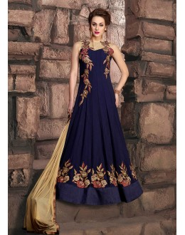 Party Wear Blue Georgette Anarkali Suit - 10001